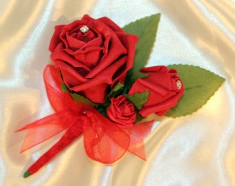 LOUISE buttonhole - pure red roses with diamante crystals and ruffled organza ribbon