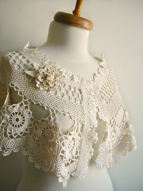 Wedding Wrap Capelet, Tea Dyed Naturel cotton, Bridal Shrug, Bolero, Upcycled Handcrocheted Vintage CoffeeTable Cloths and Lace
