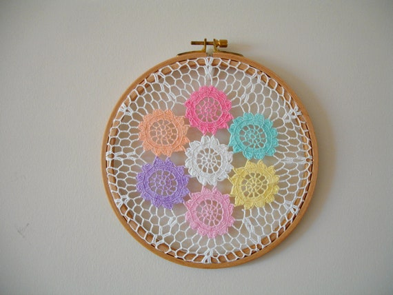 Hoop Wall Hanging , Nursery Decor With Handcrocheted Vintage Doily