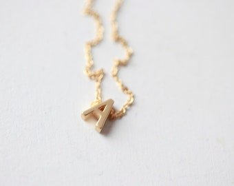 GOLD - Tiny Letter Necklace -INITIAL Necklace