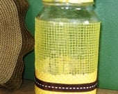Recycled Decorative Mason Jar with Yellow Plastic Mesh, Polka Dot Ribbon, Scrapbook Paper
