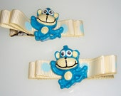 Blue monkey Hair clips - barrette hair clippie