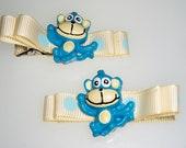 Blue monkey Hair clips - barrette hair clippie