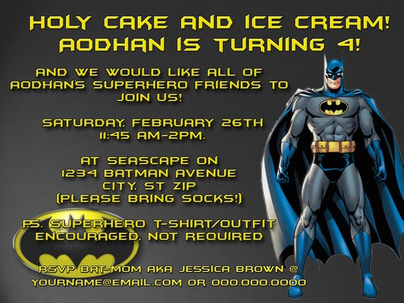 DIY Printable Batman  Birthday  Invitation