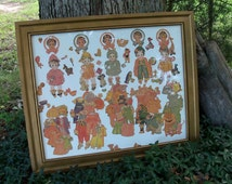 Framed Paper Dolls Dionne Quints 1920's Ephemera Art FIND
