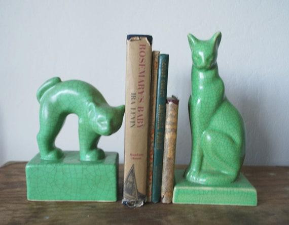 jade green cat bookends