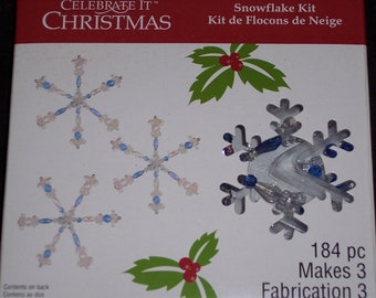 Snowflake bead ornament kit,Everything included,makes 3,Holiday craft,Christmas,winter