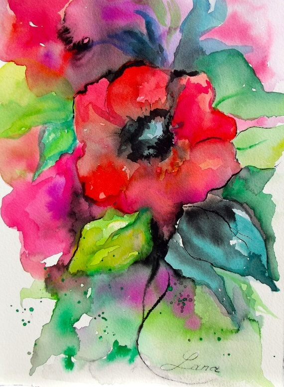 Abstract Original Watercolor Painting - Free Shipping - Abstract Floral - Rose, Magenta, Green, Blue Teal
