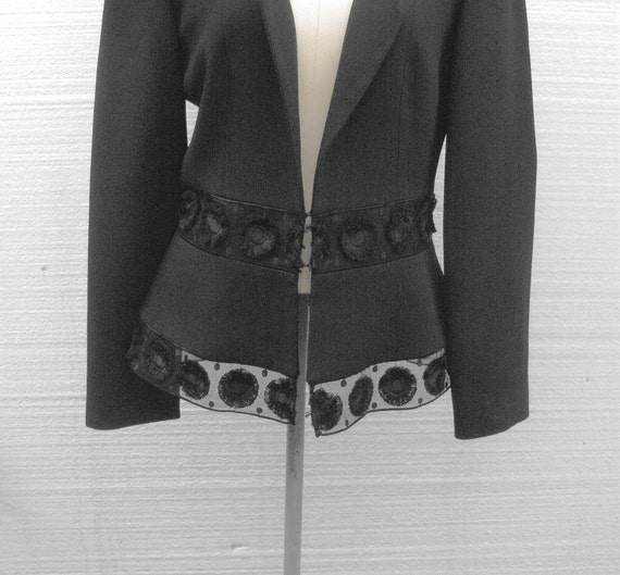 Vintage Black Crepe Peplum Style Evening Jacket