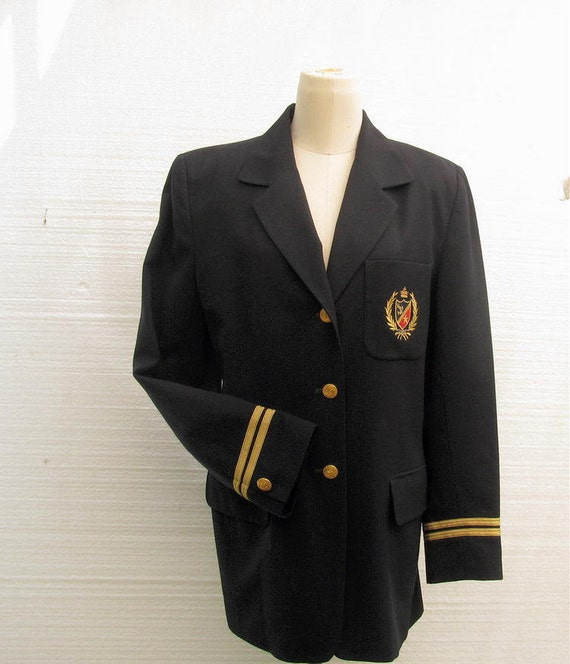 Vintage Women's Wool Blazer Jacket Military With Crest Gold Metal Buttons Gold Braid Womens Size 8