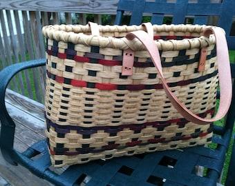 "Market basket, leather handles, 19""x12""x12"""