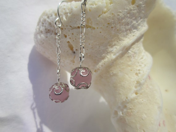 Pink Delicate Silver Filigree Dangle - Free Shipping
