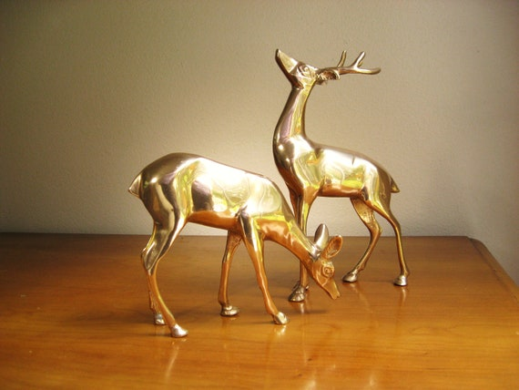 Vintage Solid Brass Deer Figurines, Reindeer Statues, Doe, Buck, Deer Family, Woodland Animals