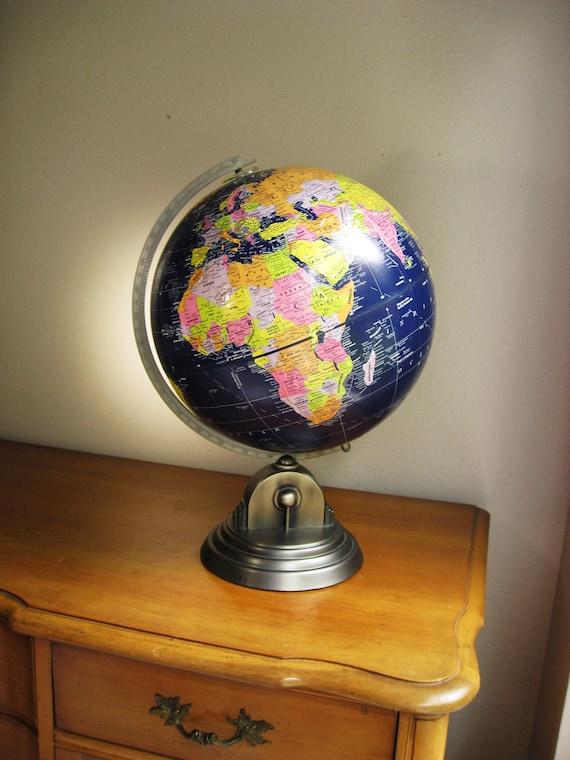 Vintage Globemaster 12 Inch Diameter World Globe, Dark Navy, Art Deco, Silver Stand