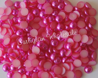 6mm Hot Pink Flatback Pearl - 100 pcs