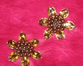 """2 pieces 1 3/4"""" width bronze tone brown acrylic and beads brooches fashion jewelry"""