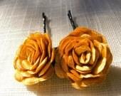 Rose Hair Pin (set of 2). Wedding hair pin. mustard rose hair pin. flower pin, Bridesmaid hair pin, bridesmaid gift