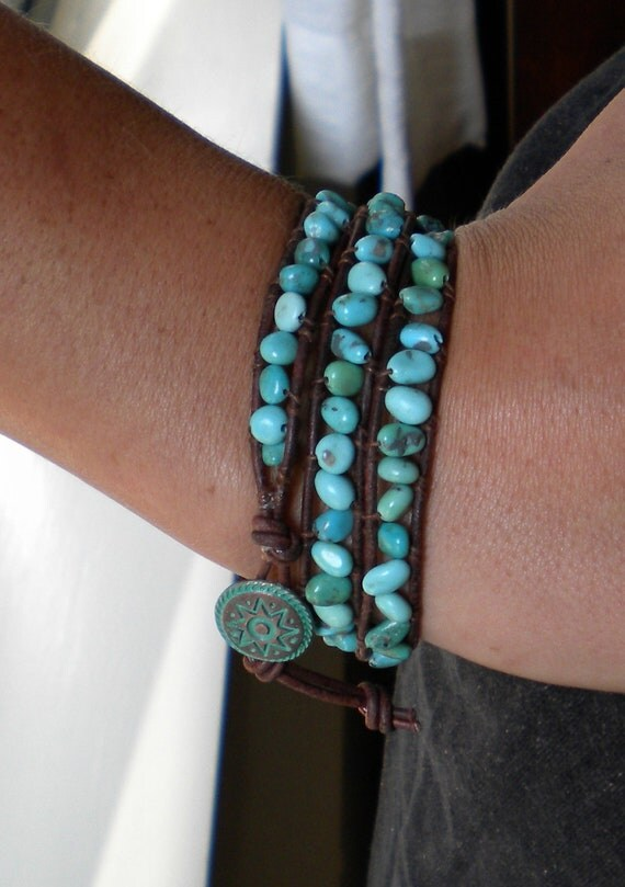 American Turquoise Nugget Triple Wrap Leather Bracelet with Green Patina Button Clasp