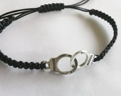 Handcuff Hemp Bracelet: Black Macrame Bracelet with Silver Handcuffs & Sliding Adjustable Closure