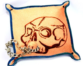 LEATHER TRAY blue leather skull pyrography