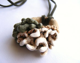 Globule - Handmade Earthy Rustic Ceramic necklace, organic inspiration with green sued string