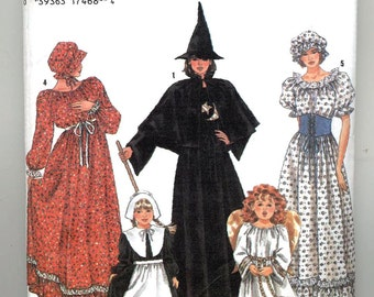 Simplicity Pattern No. 9982 Costume Child sizes 2-12 Prairie, Angel, Puritan, Witch, country