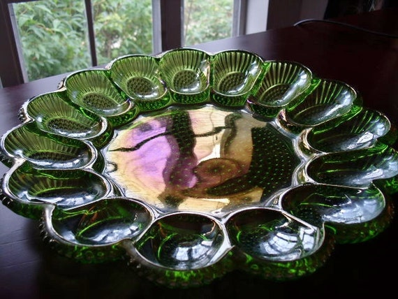 Green Deviled Egg, Oyster and Relish Plate By Indiana Glass Company