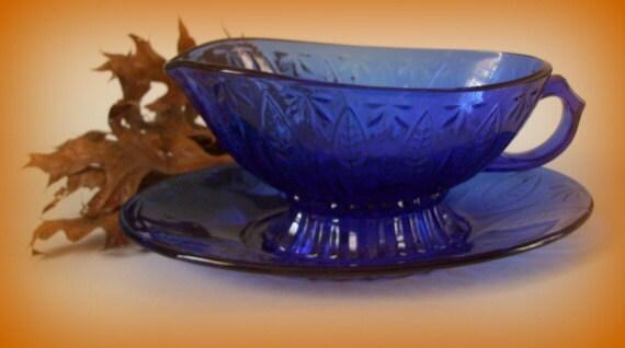 Vintage Avon Sapphire Cobalt Blue Glass Gravy Boat And