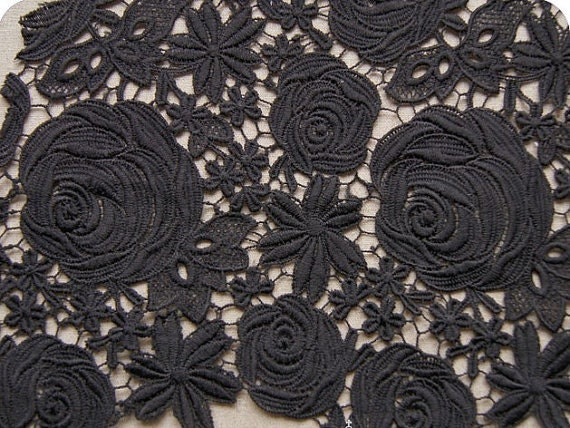 Black Lace Fabric Classical Roses Floral Patterns black