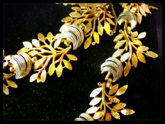 Naturally Elegant (signed Crown Trifari gold silver two tone bracelet and choker necklace set, vintage 60s 50s costume jewelry, leaves tree)