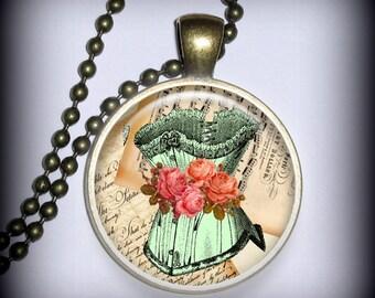 Corset Pendant Charm, Vintage Pendant, Necklace Pendant (p145)