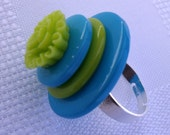 RESERVED for Jeannette - Stacked Button Ring - Aqua & Lime Silver Plated Ring Base