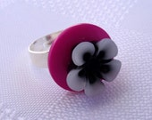 Button Ring - Fuschia & Black Silver Plated Ring Base