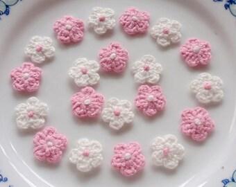 20 Mini Crochet  Flowers In Off White,  Pink YH-222-03