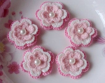 5 Crochet Flowers In Lt Pink,  White, Pink  YH-031-06