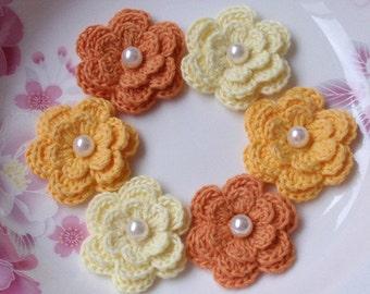 6 Crochet Flowers With Pearls In Lt Yellow, Yellow, Lt Orange YH-011-14