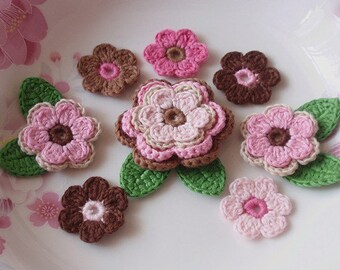 Crochet Flowers With Leaves In Brown Lt Brwon and Lt Pink and Pink and Hot Pink YH-003