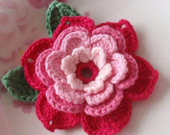 Crochet Flower With Leaves In 3-1/4 inches YH-001-02