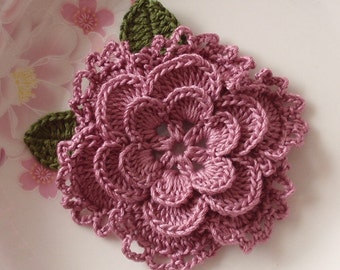 Crochet Flower With Leaves In 3 -1/4 inches YH-099-27