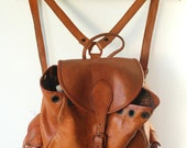 Large Brown Leather Backpack or Daypack with front and side pockets