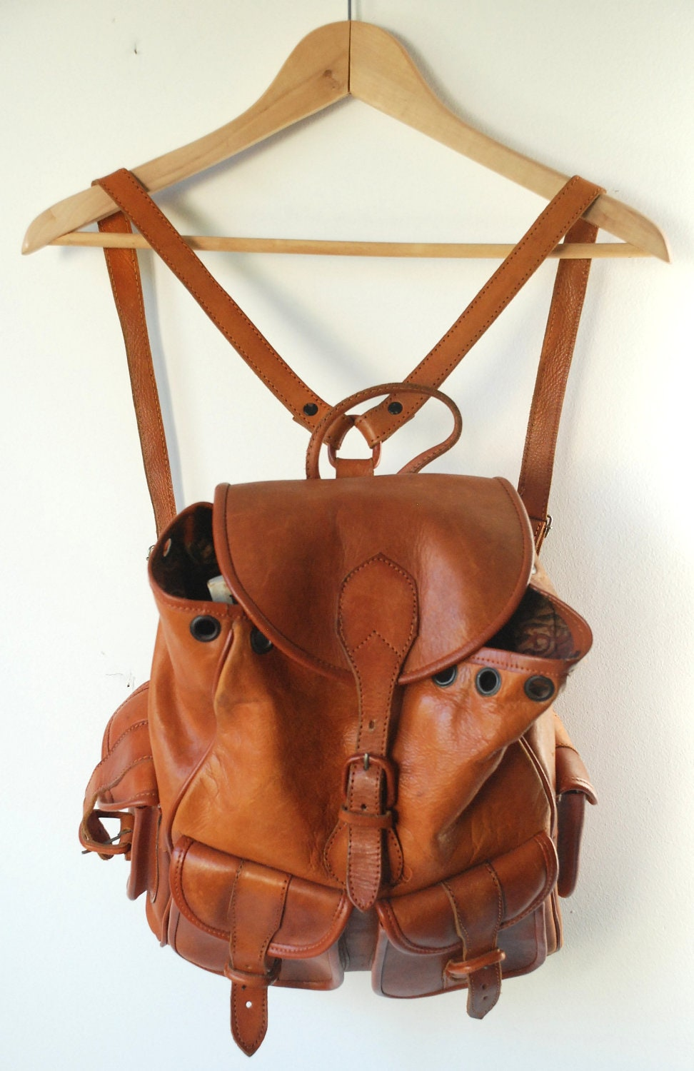 Small Brown Leather Backpack - Backpack Her