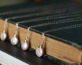 Sterling Silver, Bridesmaid Necklaces, Peach Coin Pearl & Swarovski Crystal Necklace, Bridal jewelry AD1311X