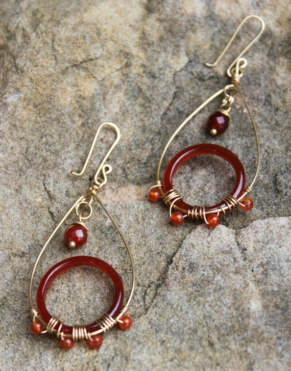 Bollywood Earrings, Carnelian Circle and 14k gold filled wire Earrings, Stocking Stuffer, Hostess Gift AD1345X