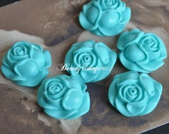 4 PCS Resin Cabochon 27mm Rose Cabochons Beautiful Colors Supplies For Handmade Vintage Jewelry Embellishment---RF2-9