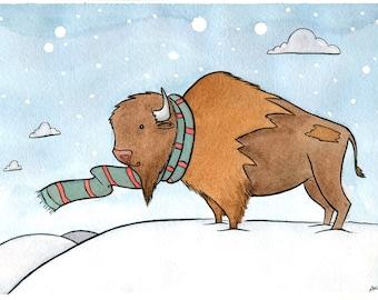 Buffalo Art - Cute Buffalo with Scarf Holiday art - Giclee Print- bison art - woodland art - cute animal art- Watercolor - 11x14 large print