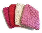 Crocheted Cotton Dish Scrubbie / Tawashi Set of 4 - Hot Pink, Watermelon, Ecru, Soft Pink