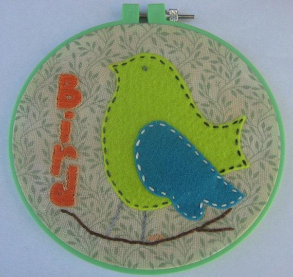 Hand Embroidered Felt Hoop Art