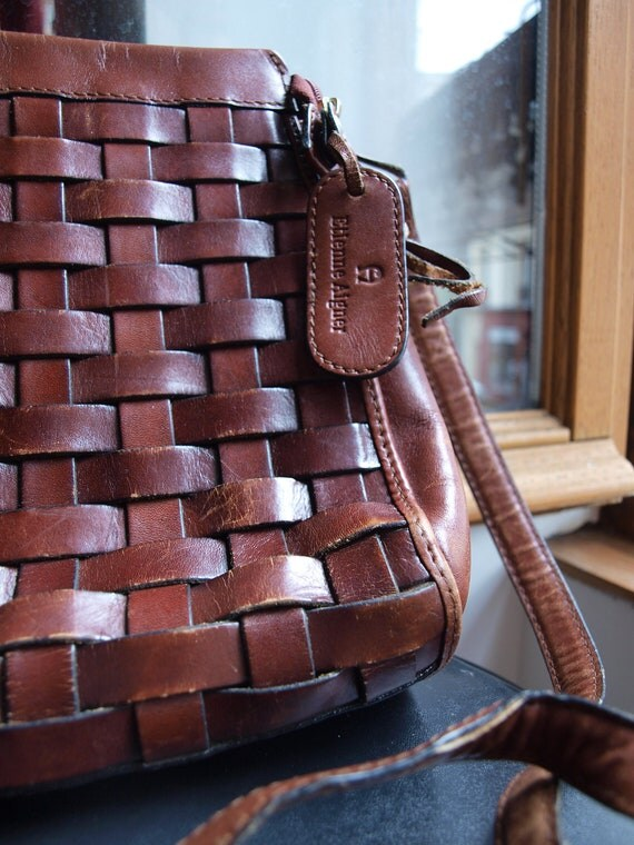 Etienne Aigner brown leather bag with woven front