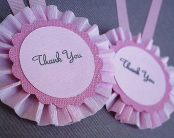 Handmade Pink Rosette Thank You Tag