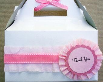 Handmade Pink Ruffled Rosette Thank you Dessert Box or Goodie Box